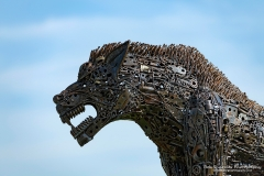 Werewolf sculpture on display at the British Iron Work Centre tourist attraction