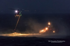RNLI and Coastguard night exercise in Mounts Bay Cornwall