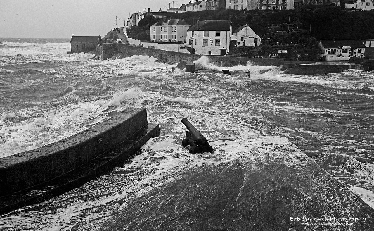 Huge waves brought out lots of New Year storm watchers to Porthleven Harbour