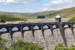 Craig Goch Dam/Reservoir in the Elan Vally, dam arches and walls that normally have water flowing are dry