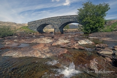 Landscape of old bridge across river near Pennyghael, Loch Scridain, Isle of Mull