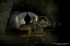 Minllyn Slate Mine/Quarry at Dinas Mawddwy, an old underground winch still visible as the mine is explored further