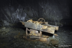 Minllyn Slate Mine/Quarry at Dinas Mawddwy, an old underground winch still visible.