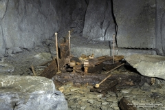 Minllyn Slate Mine/Quarry at Dinas Mawddwy, remains of equipment lie in various areas.