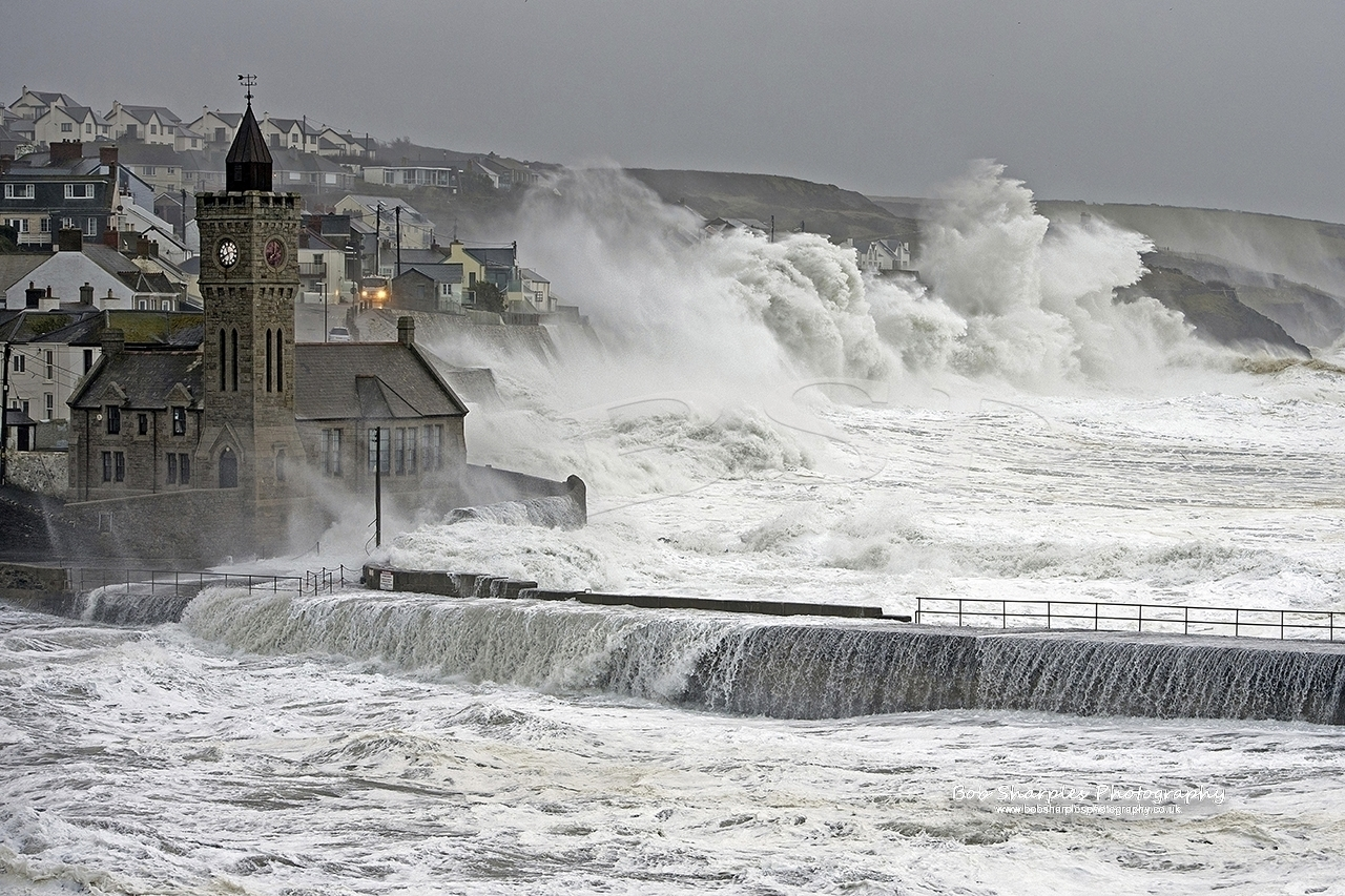 Porthleven suffers a hit from a huge winter storm due to high winds and tides combining
