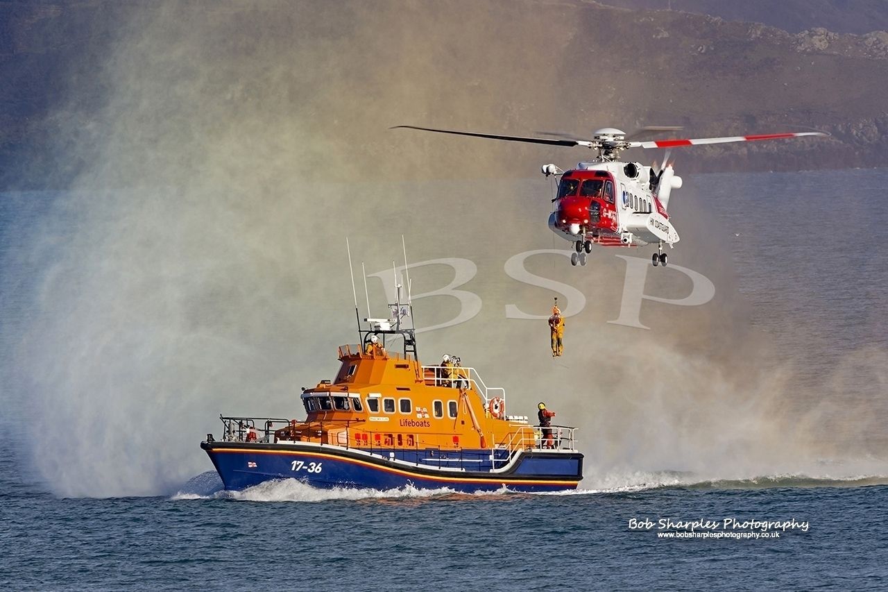 Penlee Lifeboat Train with new Search and Rescue Aircraft for the first time (Mounts Bay, Penzance, UK)