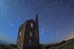 Wheal Owles Mine at Botallack at night, startrail
