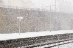 Penzance Railway Station during blizzard conditions