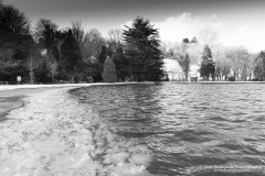 Helston boating lake starting to freeze over during winter 2018